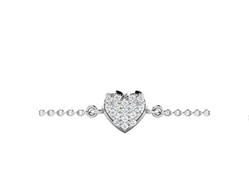 Libertini bracelet argent 925 femme serti de Diamant en forme de Coeur
