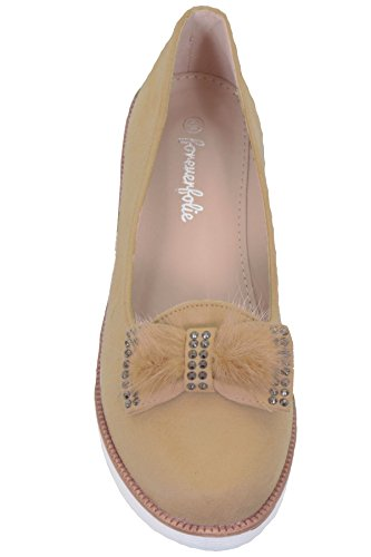 FANTASIA BOUTIQUE ® Ladies Suede Diamante Fur Fluffy Bow Slip On Small Wedge Dolly Pumps Shoes Beige ajaffrJT