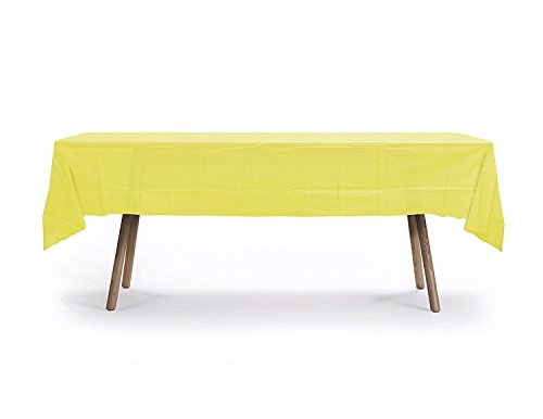 10 Pack Rectangular Table Cover, Premium Plastic Tablecloth, Plastic Table Cover Reusable (Yellow)
