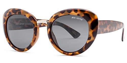 Leopard Vintage Sunglasses - Be One Women Cat Eye Metal Bridge Retro Vintage Sunglasses- Polarized - Oval Frame in Leopard Gold