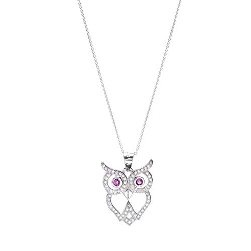 Sterling Silver CZ Owl Pendant Necklace, 18