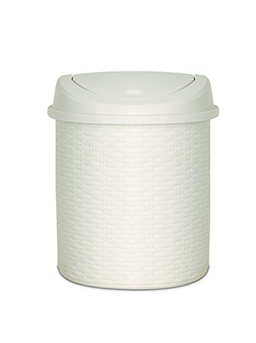 22 Qt. Swing Top Half Moon Thrash Can (Rattan Step Basket)