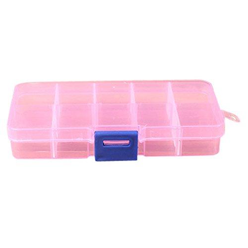 Leoy88 Plastic 10 cells Adjustable Jewelry,Pill,Hair Accessories Storage Box Case Organizer (Pink)