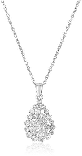 Sterling Silver Caviar Diamond Pendant Necklace (1/10cttw, I-J Color, I2-I3 Clarity), 18""