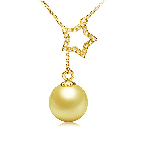 (Epinki Jewelry 14K Gold Pendant Necklace for Women Star Cubic Zirconia Gold Pearl Necklace Chain Length 41CM)