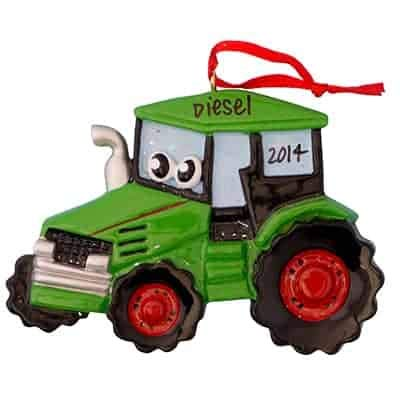 - Green Tractor Toy Personalized Ornament - (Unique Christmas Tree Ornament - Classic Decor for A Holiday Party - Custom Decorations for Family Kids Baby Military Sports Or Pets)