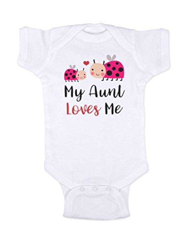 Ladybug Birth Announcements - Hello Handmade Baby - My Aunt Loves Me Ladybugs Baby Bodysuit Shower Gift Surprise (Newborn Bodysuit, White)