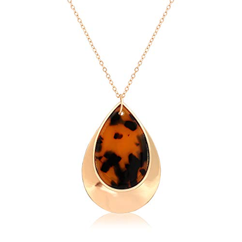 (ISALOE Acrylic Teardrop Pendant Necklace Double Metal Acrylic Resin Teardrop Pendant Long Necklaces for Women (Tortoise Shell))