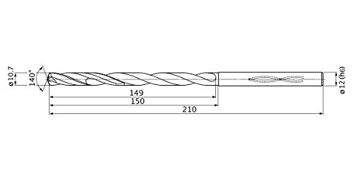 Mitsubishi Materials MHS1070L150B MHS Series Solid Carbide Drill Internal Coolant 10.7 mm Cutting Dia 2 mm Point Length 12 mm Shank Dia. 11 mm Hole Depth