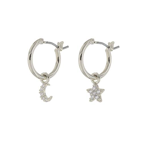 (Columbus Rhodium Plated Huggie Hoop Earrings - Moon, Star and Lightning Bolt Charms (Silver CZ Moon/Star))