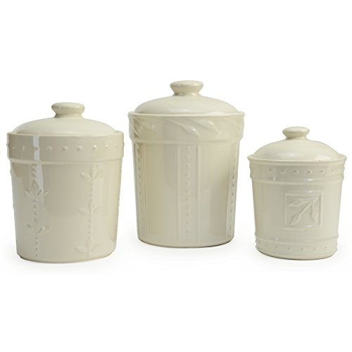 (Signature Housewares Sorrento Collection Set of Three Canisters, 80 Ounce, 48 Ounce, 36 Ounce, Ivory )