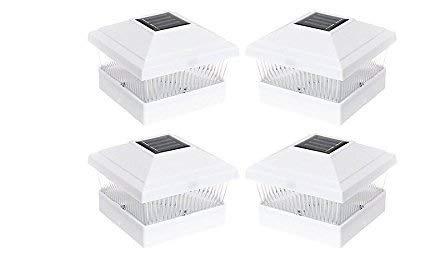 Solar Power Outdoor Garden 5 x 5 LED Post Deck Cap Square Fence Light Landscape Lamp Lawn PVC Vinyl Wood (White - 4 Pack)