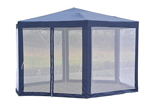 - Jjoy- Blue Polyester Steel Frame Hexagonal -Screened in Gazebo-Gazebo with Mosquito Netting-Additional Shade for Your Outdoor Events