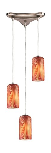 - Elk 544-3ML 3-Light Pendant In Satin Nickel And Molten Lava Glass