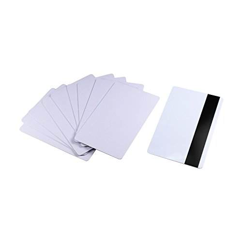 10 PCS Blank HiCo 3-Track Magnetic Stripe Card CR80 30Mil, White Blank Magstripe PVC Swipe Card ()