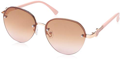 Rocawear Women's R3289 Rgdrs Non-Polarized Iridium Round Sunglasses, Gold Rose, 60 mm