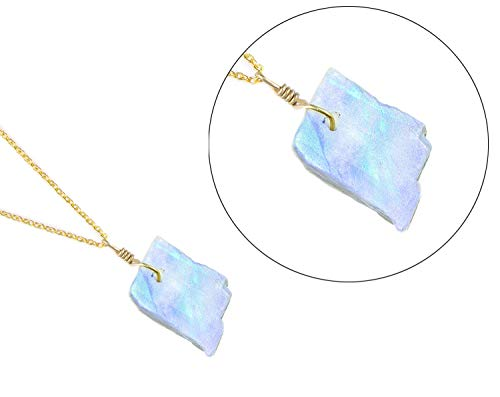 Raw Moonstone Pendant Necklace Natural Gemstone Crystal Handmade Dainty Jewelry 14K Gold Fill 925 Sterling Silver Chain 925 Natural Moonstone Pendant