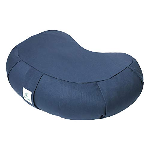 Incline Fit Zafu Yoga Meditation Cushion with Zipper, Round Meditation Pillow Bolster Filled with Buckwheat Hulls with Machine Washable Cotton Cover and Carry Handle, Crescent, Midnigt Blue