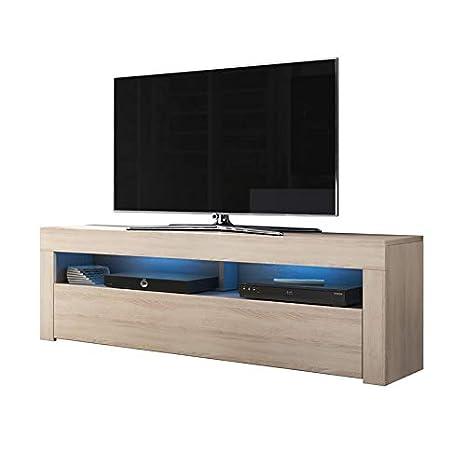 Alan - Mobile porta TV / Supporto TV / Mobile TV audio e video (160 cm,  quercia Sonoma con luci LED opzionali)