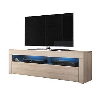 Tvbanc Tvtable Brillant L'éclairage De Alan Avec Bleue Basse Option Matblanc Led Tv Salon160 Meuble En CmBlanc 3j4A5RL