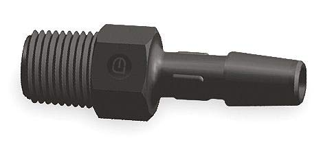 Eldon James Barbed x MNPT Adapter, Nylon, 1/4'' Barb Size, Black - A4-4BN Pack of 5 by Eldon James