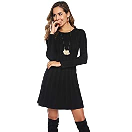 Hawiton Women's Crew Neck Cable Knitted Jumper Knitwear Long Sleeve Bodycon Midi Sweater Dress