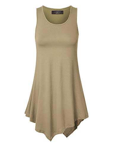 (Made By Johnny MBJ WT671 Womens Handkerchief Hem Tank Tunic Top L Taupe)