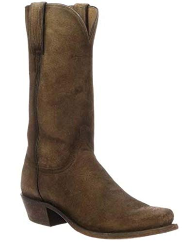 (Lucchese Men's Livingston Frontier Suede Western Boot Narrow Square Toe Tan 11 D)