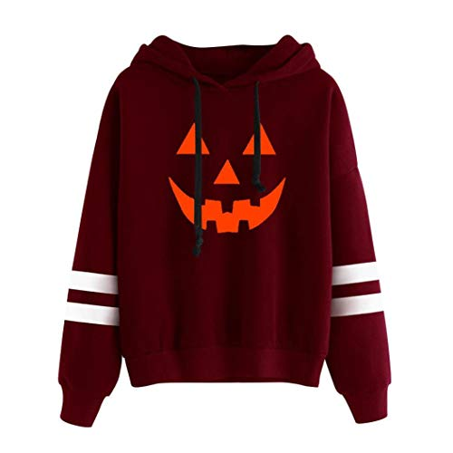Clearance!Youngh New Womens Halloween Blouses Print Pumpkin Solid Pullovers Hoodies Loose Long Sleeve Cotton Casual Fashion Hooded Shirt Tops by Youngh Top