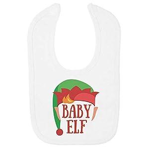 Christmas Baby Bib Elf Face Cute Funny Xmas NP21 – White