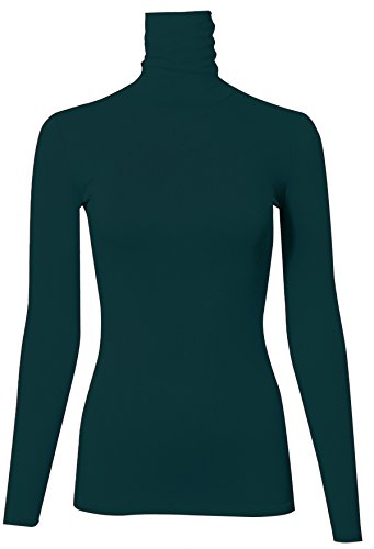 PINMUSE Women's Long Sleeve Turle Neck Top Sweater Made In USA Forest M (Forest Green Flower Pattern)