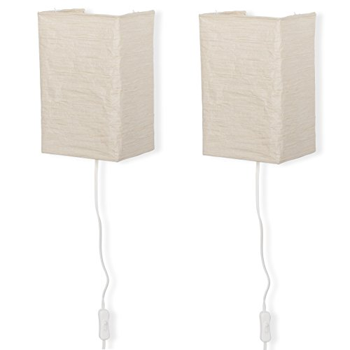 Wallniture Rice Paper Wall Mount Lamp Sconce with Toggle Switch Chandelier Light Bulbs Included Cream Set of 2 by Wallniture