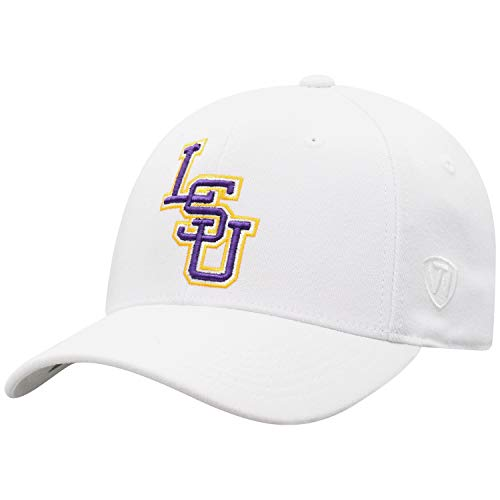 Top of the World LSU Tigers Men's Memory Fit Hat Icon, White, One Fit