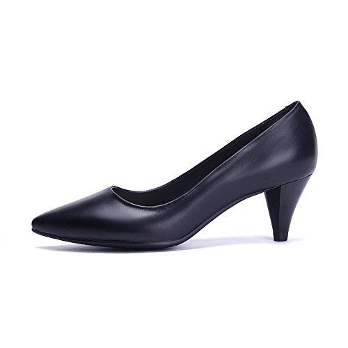 Noir Femme Pointed toe Balamasa À Imitation Enfiler shoes Cuir Pumps 6zqnw7x