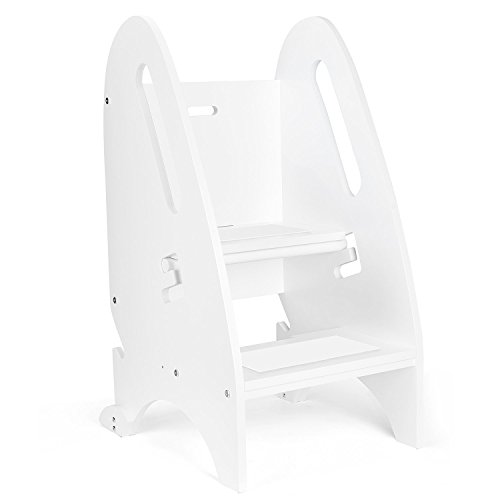 Acko Wooden Step Stool with Non- Slip Great for Both Toddlers & Adults–Perfect Height for Nursery, Kitchen or Bathroom.Holds Up To 264LBS (White Color) by Acko