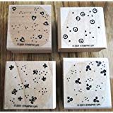 Stampin' Up! Beyond The Basics Set of 4 Wood Mounted Rubber Stamps Retired 2001
