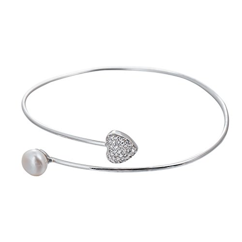 - Adstones Sterling Silver 8mm White Freshwater Cultured Pearl Love Cuff Bangle Bracelet for Women