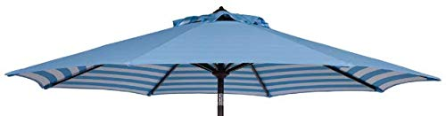 Square Fiberglass Market Umbrella - Shadeprotection Umbrella Replacement Canopy 9 feet 8 Ribs Unique Two Sides Design Polyester Fabric Canopy Only for 9' Patio Umbrella 8 Ribs (Polyester, Blue White Stripe)