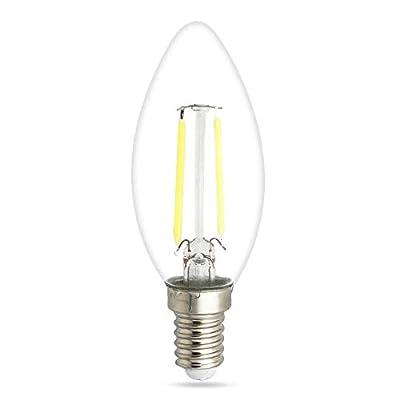 Mengjay 20 Pack 2W 110V 6000K Cold White LED Chandelier Bulb, 180LM 15W Equivalent E12 Medium Base LED Candle Bulbs, C35 Clear Glass Torpedo Shape Bullet Top