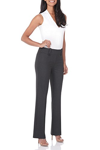 Rekucci Women's Smart Desk to Dinner Stretch Bootcut Pant w/Tummy Control (12,DK Charcoal)