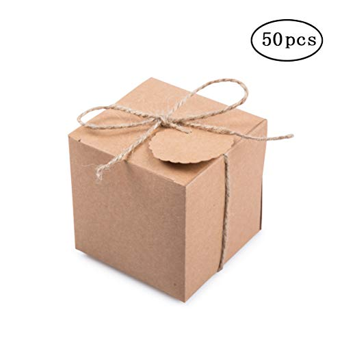 Kraft Gift Boxes 2x2x2 inch with Tags and Rope for Candy Treat Gift Wrap Box Party Favor 50pc by MOWO