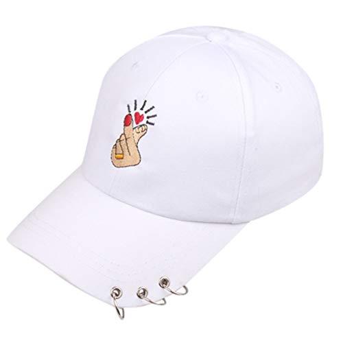 HYIRI Light Fashionable Men and Women Summer Love Gesture Iron Ring Baseball Hat White