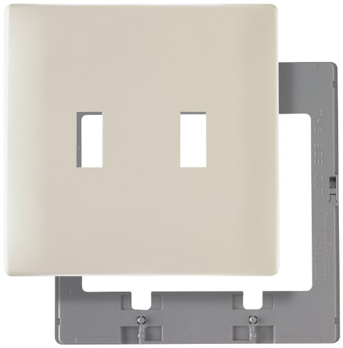 Legrand - Pass & Seymour SWP2LACC10 Screw Less Wall Plate Plastic Sub Plate Two Gang Light, Almond