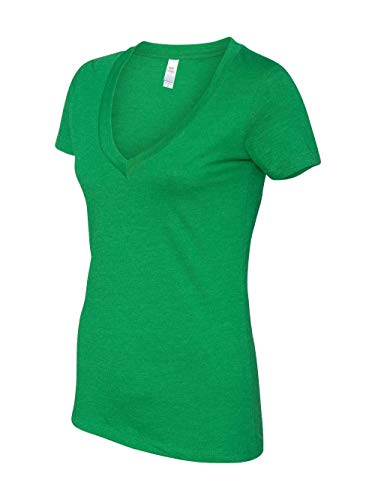 Next Level Apparel Women's CVC Deep V-Neck T-Shirt, Kelly Green, Large