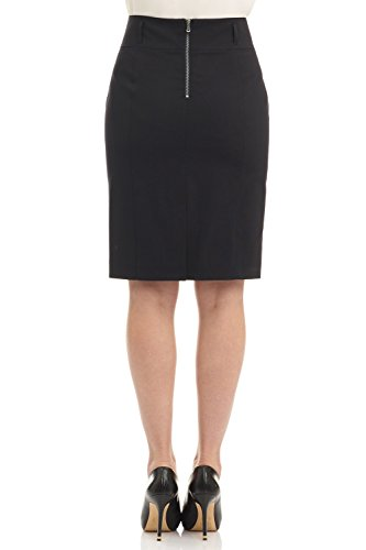 Rekucci Collection Women's Stretch Wool Pencil Skirt with Back Zip Detail (12,Black) by Rekucci (Image #2)