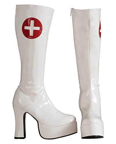 für Stiefel Horror M Weiße Kostüme sexy Shop Krankenschwester Nurse Plateau X7RqOp
