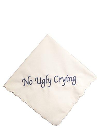 Perfect Bridesmaid Gift No Ugly Crying Wedding Handkerchief Embroidered (Dark Blue) ()