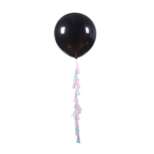 Pop Fizz Designs Gender Reveal Balloon with Confetti and Tassels- Kit Includes 2-36 inch Black Balloons, Pink and Blue Confetti, and Pink and Blue -
