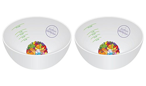 PORTION CONTROL BOWL, PORCELAIN SET OF 2 for Weight Loss, Diabetes and Healthier Diets. Educational, visual tool for adults and children by Dietitian Amanda Clark