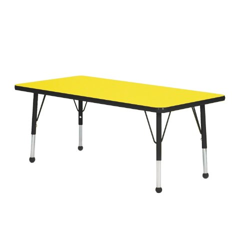 """UPC 663789352304, Creative Colors Y3660BK-SN Activity Table, Self-Leveling Glides, Standard Height, 36"""" x 60"""" Rectangle, Yellow Top, Black Edge"""